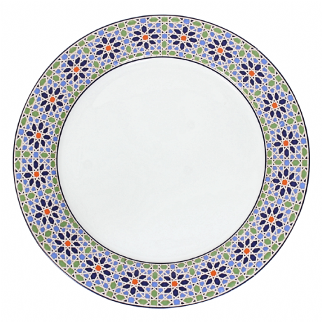 Moroccan Porcelain Serving Plate Platter Presentation Dish Mosaic Zellige Design Large 35 CM. (MP4)